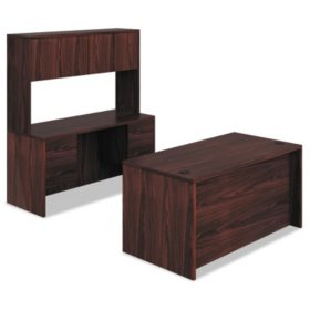 "Hon 10500 Series 60"" Desk & Credenza Workstation with Stack-on Storage, Mahogany"