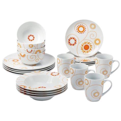 Rachael Ray 20 Piece Pinwheel Dinnerware Set - Orange/Yellow