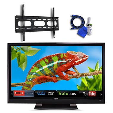 "55"" VIZIO LCD 1080p 120Hz HDTV w/ Internet Apps, Low Profile Mount, 8ft HDMI, and Cleaning Kit"