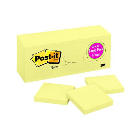 """Post-it Original Notes, 3"""" x 3"""", Canary Yellow, 27 Pads, 2700 Total Sheets"""