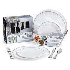 Masterpiece and Reflections Premium Plastic Disposable Dining Set (228 pieces)