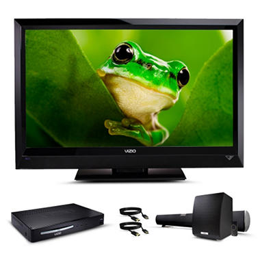 "39"" VIZIO LCD 1080p HDTV w/ Blu-ray Player and Soundbar with Wireless Subwoofer Bundle"