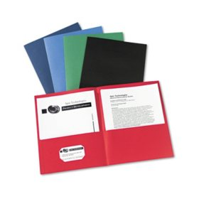 Avery Two-Pocket Portfolio, Embossed Paper, 30-Sheet Capacity, Assorted Colors (25 ct.)
