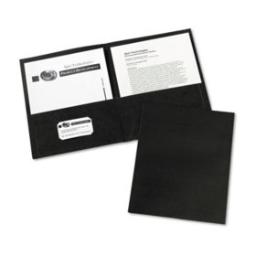 Avery Two-Pocket Embossed Paper Portfolio, 30-Sheet Capacity, Black (25 ct.)