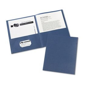 Avery Two-Pocket Portfolio, Embossed Paper, 30-Sheet Capacity, Dark Blue (25 ct.)