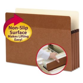 """Smead 3 1/2"""" Easy Grip Accordion Expansion Pockets, Legal, Redrope, 25ct."""