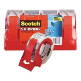 "Scotch 3850 Heavy-Duty Packaging Tape with Dispenser, 3"" Core, 1.88"" x 54.6 yds, Clear, 4/Pack"