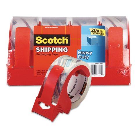 """Scotch 3850 Heavy-Duty Packaging Tape, 1.88"""" x 54.6yds, 3"""" Core, Clear, 4pk."""
