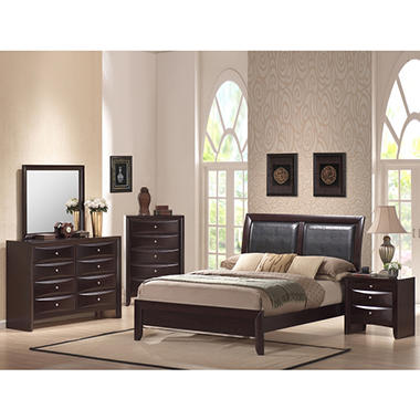 Madison 6 piece king bedroom set with rich merlot finish dealepic for Merlot finish bedroom furniture