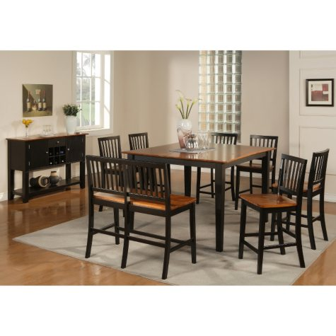 Ava Cherry and Black Counter Height Dining Set - 9 pc.