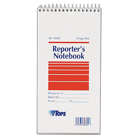 TOPS - Reporter Notebook, Gregg Rule, 4 x 8, White -  12 70-Sheet Pads/Pack