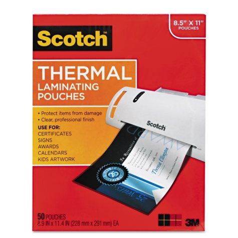 Scotch - Letter size thermal laminating pouches, 3 mil, 11 1/2 x 9 -  50/pack