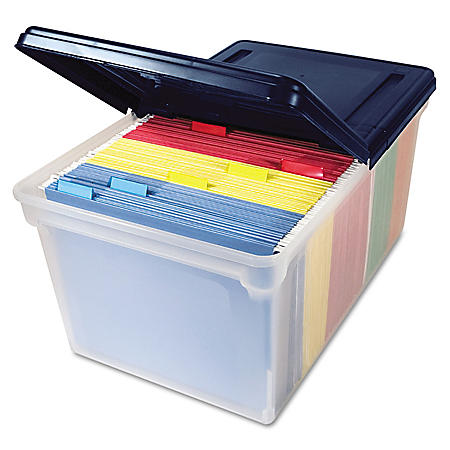 Innovative Storage Designs Plastic File Tote Storage Box with Lid, Clear/Navy (Letter)