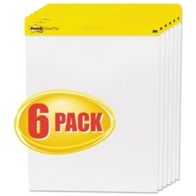 Post-it Easel Pads Super Sticky Self-Stick Easel Pads, 25 x 30, White, 30 Sheets, 6/Carton