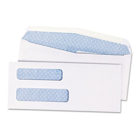 Quality Park - Double Window Security Tinted Check Envelope, #8, White - 1,000/Box
