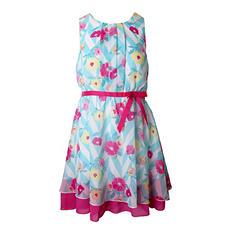 Pink & Violet Trendy Chiffon Mint Floral Midi Dress
