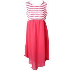 Pink & Violet Trendy Chiffon Coral Stripe Maxi Dress