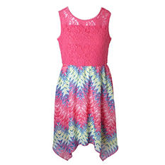 Pink & Violet Trendy Chiffon Sharkbite Chevron Midi Dress