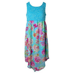 Pink & Violet Trendy Chiffon Tuqoise Floral Maxi Dress