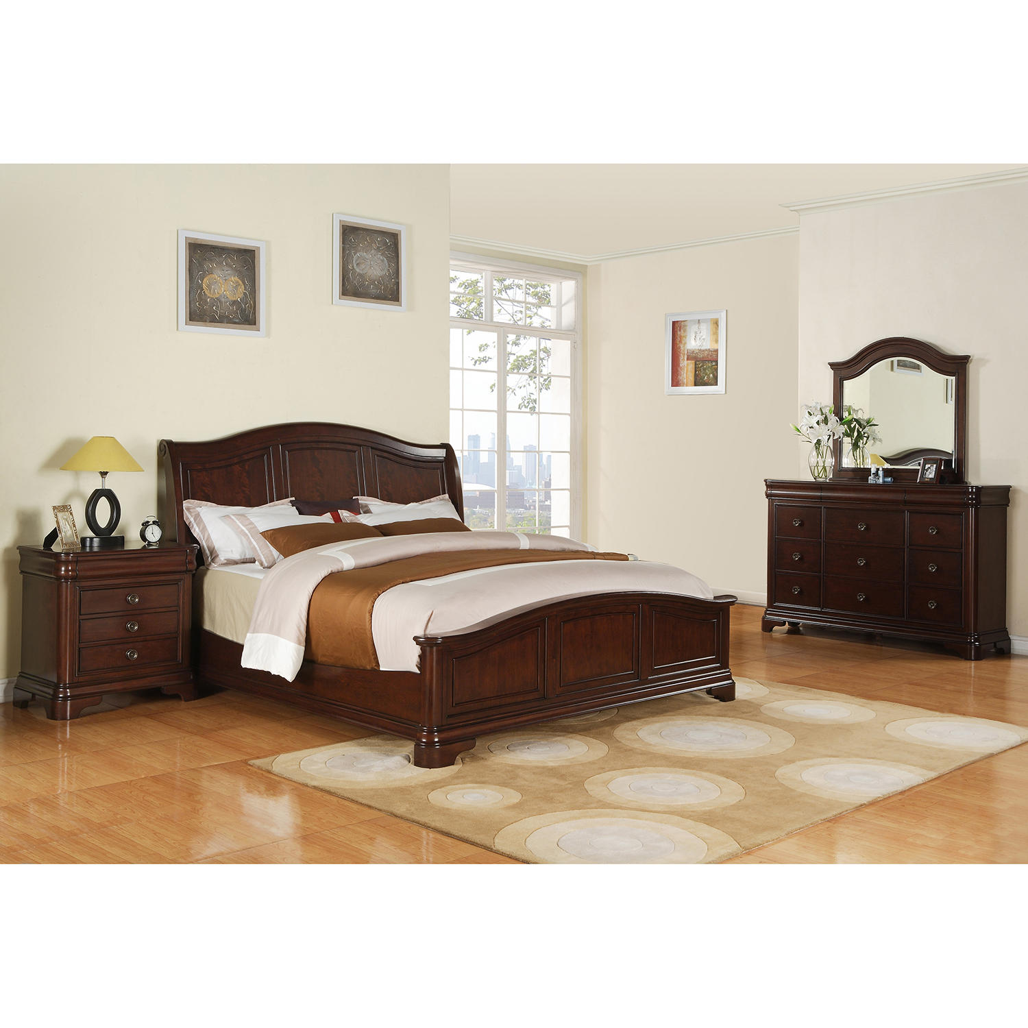Conley 6 Piece King Bedroom Set with Traditional Cherry Finish