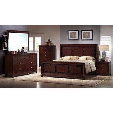 Easton 6 Piece King Bedroom Set with Solid Hardwoods, Veneers with Warm Cherry Finish