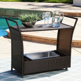 Stella Wicker and Aluminum Outdoor Bar Cart