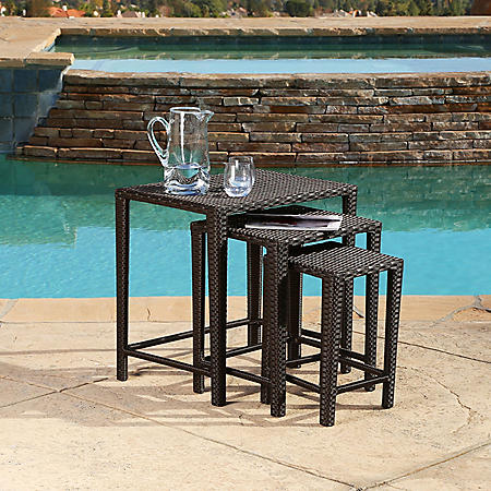 Mila Wicker 3-Piece Outdoor Tea Table Set