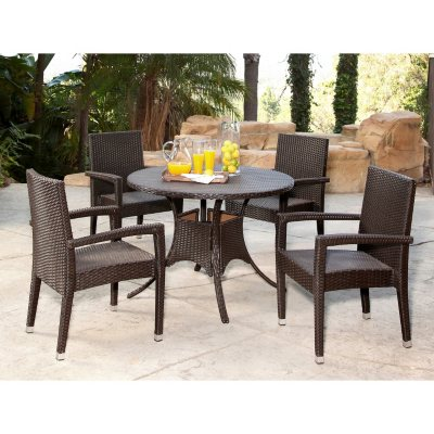 Riely Wicker 5 Piece Outdoor Dining Set