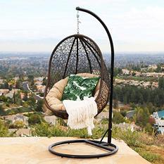 Chloe Espresso Wicker Outdoor Swing Chair