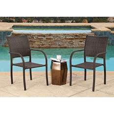 Malibu Wicker Stackable Outdoor Club Chairs, Set of 2