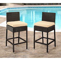 Brooklyn Wicker Outdoor Bar Stools with Cushions, Set of 2