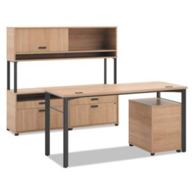 """basyx 60"""" Manage Series Desk & Credenza Workstation with Overhead Storage, Select Color"""