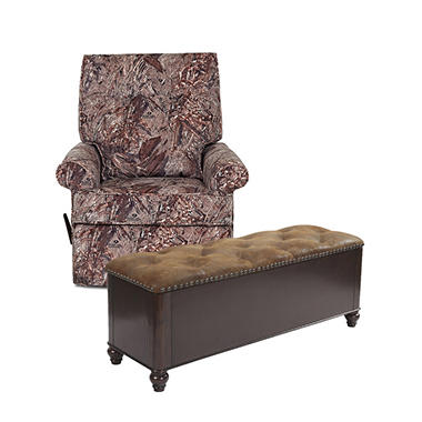 Camo Rocking Recliner Chair And 6 Gun Concealment Bench Bundle