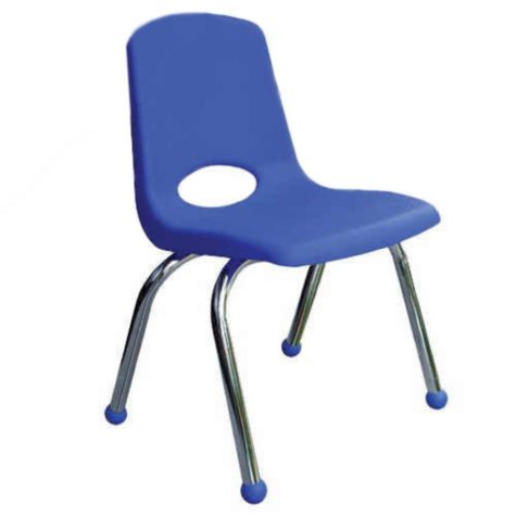 """ECR4Kids 10"""" Stack Chair with Chrome Legs & Ball Glides, Select Color - 6 pack"""