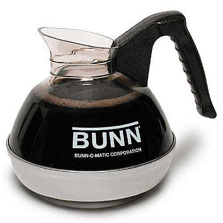 BUNN 64 oz. Easy Pour Commercial Glass Decanter, Black Handle/Regular (1 pack)