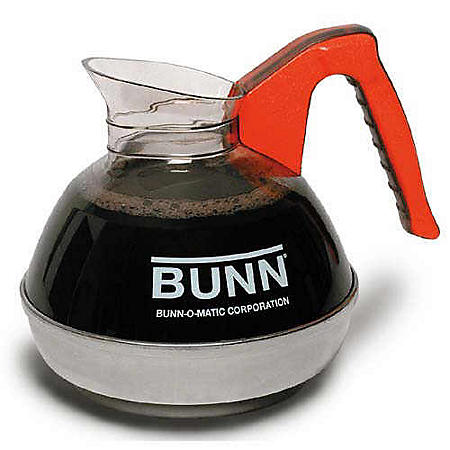 BUNN 64 oz. Easy Pour Commercial Glass Decanter, Orange Handle/Decaf (1 pack)