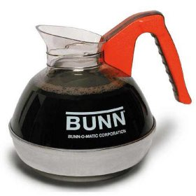 BUNN 64 oz. Easy Pour Commercial Glass Decanter, Orange Handle/Decaf (1 pack)