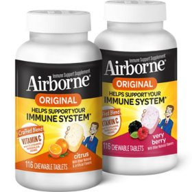 Airborne Immune Support Chewable Tablets, Choose Your Flavor (116 ct.)