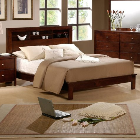 Alexa Bed with Bookcase Display Headboard (Choose Size)
