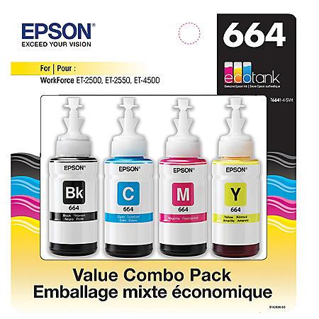 Epson EcoTank T664 Value Combo Pack, Black/Cyan/Magenta/Yellow
