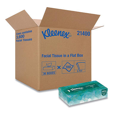Kleenex - White Facial Tissue, 2-Ply, Pop-Up Box, 100/Box -  36 Boxes/Carton