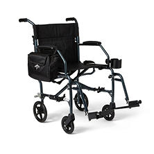 Medline Ultra-Light Transport Chair and Folding Cane (Choose Your Color)