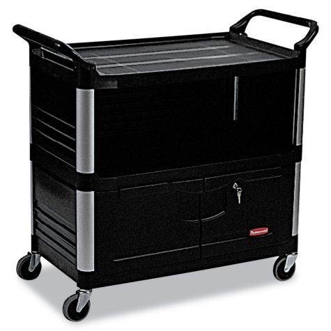 Rubbermaid Xtra Equipment Cart with Doors - Black