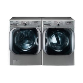 LG - Mega-Capacity Front-Load Washer and Gas Dryer Bundle - Graphite Steel