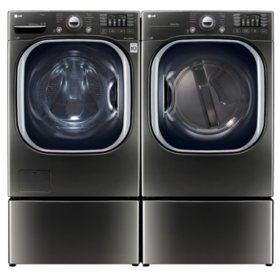 LG Side-by-Side on Pedestals Laundry Suite in Black Stainless Steel
