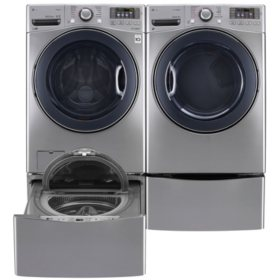 LG - Ultra-Large Capacity Front-Load Washer, SideKick Pedestal Washer and Dryer with Laundry Pedestal Bundle - Graphite Steel