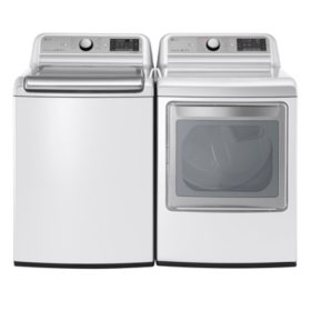 Mega-Capacity Top-Load Washer and Ultra-Capacity Dryer Bundle - White