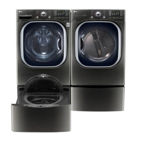 LG Side-by-Side on Side-Kick Pedestal Laundry Suite in Black Stainless Steel