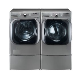 LG Mega-Capacity Front-Load Washer with Laundry Pedestal and Gas Dryer with Laundry Pedestal Bundle - Graphite Steel
