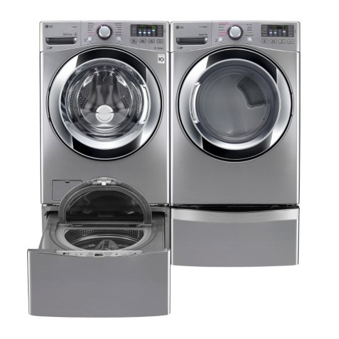 Ultra-Large-Capacity Front-Load Washer, SideKick Pedestal Washer, and Gas Dryer with Laundry Pedestal Bundle - Graphite Steel